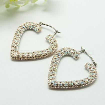 Resin Austrian Crystal EarringsEJEW-G105-02-1