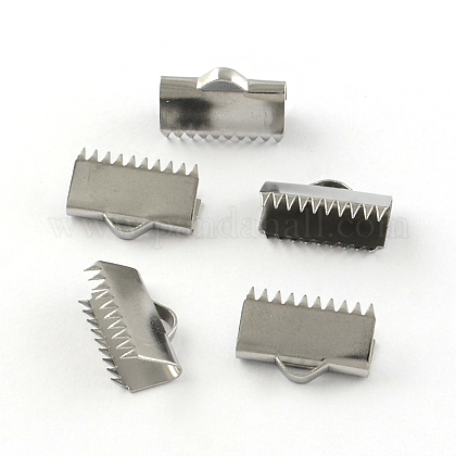 滑らかな表面304ステンレス鋼リボンのカシメエンドパーツSTAS-R063-92-1