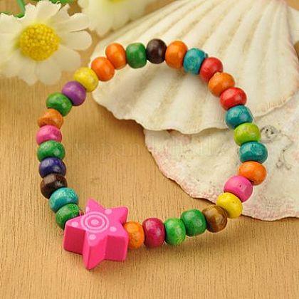 Wood Bracelets for KidsBJEW-JB00766-12-1
