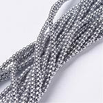 Non-Magnetic Synthetic Hematite Beads Strands, Round, Silver, 2mm, Hole: 0.6mm; about 223pcs/strand, 15.7