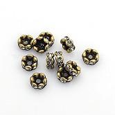 Brass Rhinestone Spacer Beads, Grade AAA, Wavy Edge, Nickel Free, Antique Bronze, Rondelle, Crystal, 6x3mm, Hole: 1mm