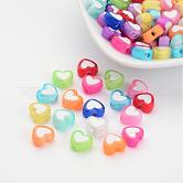 Transparent Heart Acrylic Beads, Bead in Bead, Mixed Color, 7x8x4mm, Hole: 2mm