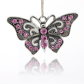 Fornituras colgante de collar de mariposa de la vendimia, Colgantes de aleación de Diamante de imitación, plata antigua, rosa luz, 37x67x7mm, agujero: 4 mm