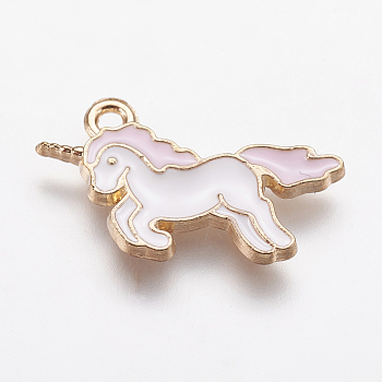 Alloy Enamel Pendants, Unicorn, Light Gold, Pink, 20x15x1.5mm, Hole: 1mm