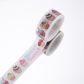 DIY Scrapbook Decorative Adhesive Tapes, Desserts, White, 15mm, 5m/roll(5.46yards/roll)
