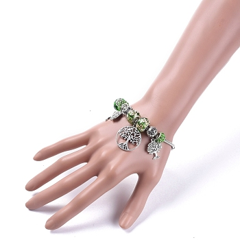 Antique Silver European Bracelets, with Brass Snake Chain Bracelet Making, Glass & Polymer Clay Rhinestone & Alloy European Beads and Tree of Life Alloy Pendants, Antique Silver, 7-7/8 inches(20cm)