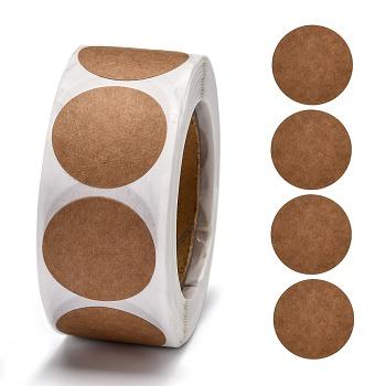 Self Adhesive Kraft Paper Label Tag Stickers, Flat Round, Peru, 25mm, about 500pcs/roll
