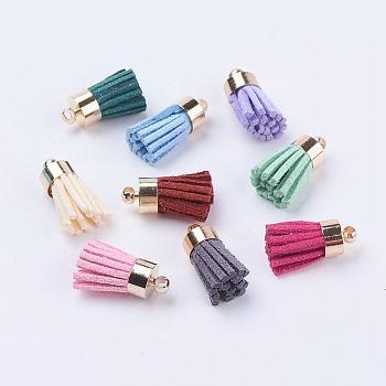 Pendentifs à gland en daim, avec les accessoires en laiton, or, couleur mixte, or, 16~19x7mm, Trou: 1mm