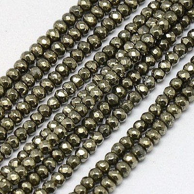 1 Strand 3mm Natural Pyrite Gemstone Jewelry Finding Rondelles Beads