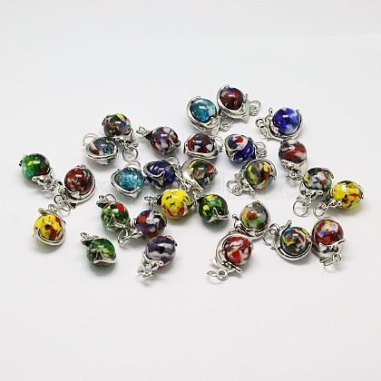 Colgantes de cristal hechos a mano millefiori redondas mixtosLAMP-A147-09-1