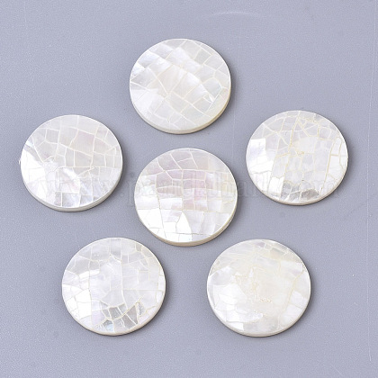 Natural White Shell Mother of Pearl Shell CabochonsSSHEL-N034-42-1