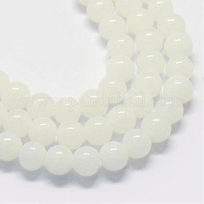 Baking Painted Imitation Jade Glass Round Bead StrandsDGLA-Q021-6mm-01-1