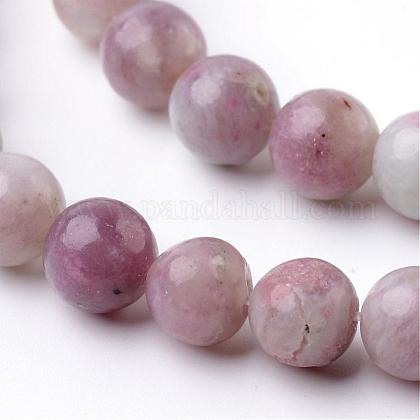 Dyed Round Natural Pink Tourmaline Beads Strands G-K089-8mm-05-1