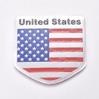 Etiqueta de la bandera americana de los estados unidos de aleación de aluminioAJEW-WH0113-64C-1