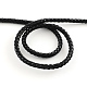 Braided PU Leather Cord, Imitation Leather Cord for Bracelet Making, Black, 5mm; about 9m/Roll