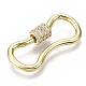 Brass Micro Pave Clear Cubic Zirconia Screw Carabiner Lock Charms ZIRC-T013-02G-NF-3