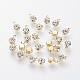 Brass Rhinestone Charms, Real 18K Gold Plated, 5.5x3.5x2.5mm, Hole: 1mm