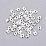 Tibetan Silver Flower Daisy Spacer Beads, Silver Color Plated, Lead Free & Cadmium Free & Nickel Free; 4x1.5mm, Hole: 1mm
