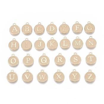 Initial Letter A~Z Alphabet Enamel Charms, Flat Round Disc Double Sided Charms, Golden Plated Enamelled Sequins Alloy Charms, PeachPuff, 14x12x2mm, Hole: 1.5mm, 26pcs/set
