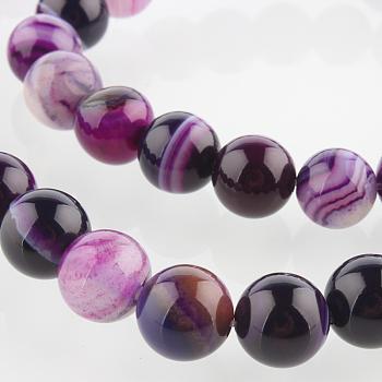 Природных драгоценных камней агата круглый шарик нити, окрашенные, синий фиолетовый, 8 мм, Отверстие : 1 мм, около 49 шт / нитка, 14.96 дюйм