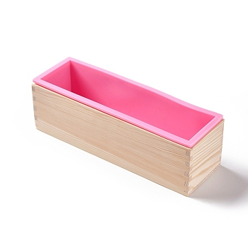 Rectangle Soap Silicone Loaf Mold Wood Box, for Soap Cake Making Supplies, PearlPink, 82x280x81mm; 91x280x82mm