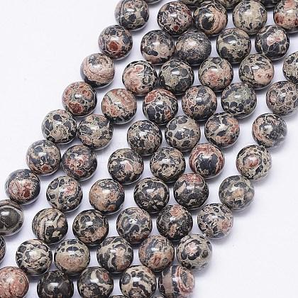 Hebras de cuentas de jaspe de piel de leopardo naturalG-F425-13-1