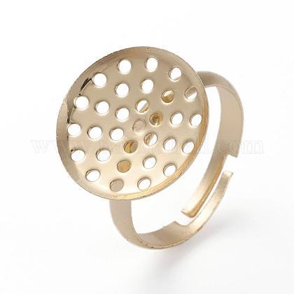 Adjustable Brass Pad Ring ComponentsKK-G379-04G-1
