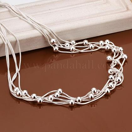 Popular Silver Color Plated Brass Multi-strand Snake Chain NecklacesNJEW-BB12849-1