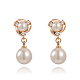 Real Rose Gold Plated Fashion Alloy Austrian Crystals Dangle EarringsEJEW-AA00057-01-1