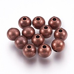 CCB Plastic Bead Spacers, Round, Red Copper, 8mm, Hole: 2mm