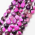 Hebras de abalorios ágata de fuego natural, redondo, Grado A, facetados, teñido y climatizada, rosa oscuro, 10mm, agujero: 1 mm; aproximamente 37 unidades / cadena, 15