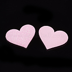 Glitter PU Patches, with Non Woven Fabric Back and Sponge Inside, Heart, PearlPink, 28x35~36x3mm