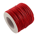Waxed Cotton Thread Cords, Red, 1mm; about 100yards/roll(300 feet/roll)