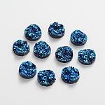 Druzy Resin Cabochons, Flat Round, DarkTurquoise, 12x5mm