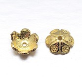 Real 18K Gold Plated 6-Petal Sterling Silver Bead Caps, Flower, Golden, 7x2.5mm, Hole: 2mm; about 83pcs/20g