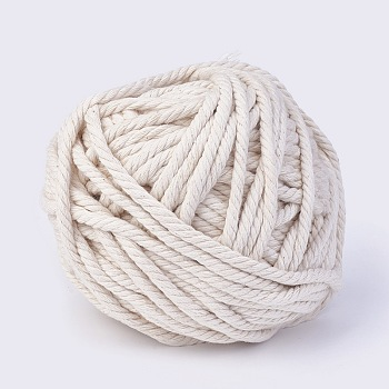 Cotton String Threads for Jewelry Making, Macrame Cord, WhiteSmoke, 5mm; about 50m/roll