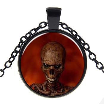 Стеклянные ожерелья на Хэллоуин, со сплавочной фурнитурой, плоские круглые с черепом, металлический черный, 17.7 дюйм (45 см), кулон: 27 мм