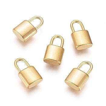Chapado en vacío 304 colgantes de acero inoxidable, Candado, dorado, 11x6x3mm, agujero: 2.5x4 mm