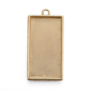 Matte Gold Color Alloy Pendant Cabochon Settings, Plain Edge Bezel Cups, Lead Free & Nickel Free & Cadmium Free, Rectangle, Real 18K Gold Plated, Matte Gold Color, Tray: 40x21mm; 48x24x4mm, Hole: 3.5mm