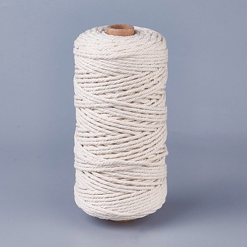 Cotton String Threads for Jewelry Making, Macrame Cord, Creamy White, 3mm; about 100m/roll