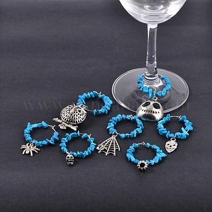 Halloween Theme Tibetan Style Alloy Wine Glass CharmsAJEW-JO00065-1