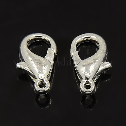 Silver Color Plated Zinc Alloy Lobster Claw ClaspsX-E103-S-1