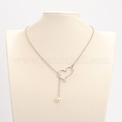 Collares de aleación de plata chapados en color corazón lariatNJEW-JN01010-01-1