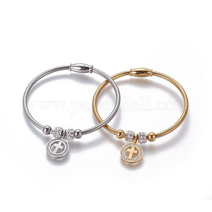 304 Stainless Steel Charms BanglesBJEW-P258-08-1
