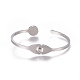 304 Stainless Steel Cuff BanglesBJEW-F390-01-3
