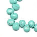 Dyed Synthetic Turquoise Gemstone Bead Strands, Drop, 12x9~10x5~6mm, Hole: 1mm; about 33pcs/strand, 9.84