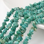 Chip Natural Amazonite Bead Strands, Dyed, 4~6x8~12x2~4mm, Hole: 0.8mm; about 34.6