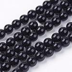 Chapelet de perles rondes en agate naturelle, teinte, noir, 8mm, trou: 1mm; environ 48 pcs/chapelet, 15.74