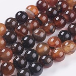 Natural Agate Beads Strands, Dyed & Heated, Round, 10mm, Hole: 1.5mm; about 38pcs/strand, 15.1inches