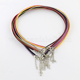 2mm Faux Suede Cord Necklace Making with Iron Chains & Lobster Claw Clasps, Mixed Color, 19.3 inches